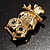 Gold Tone Crystal Owl Brooch - view 6