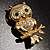 Gold Tone Crystal Owl Brooch - view 8