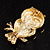 Gold Tone Crystal Owl Brooch - view 4