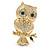 Gold Tone Crystal Owl Brooch