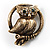 Vintage Crystal Owl Brooch (Antique Gold)