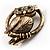 Vintage Crystal Owl Brooch (Antique Gold) - view 7