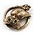 Vintage Crystal Owl Brooch (Antique Gold) - view 6