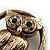Vintage Crystal Owl Brooch (Antique Gold) - view 3