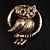 Vintage Crystal Owl Brooch (Antique Gold) - view 2