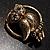 Vintage Crystal Owl Brooch (Antique Gold) - view 4