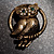 Vintage Crystal Owl Brooch (Antique Gold) - view 8