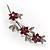 Rhodium Plated Fuchsia Diamante Flower Bouquet Brooch