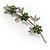 Rhodium Plated Emerald Green Diamante Flower Bouquet Brooch - view 3