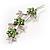 Rhodium Plated Emerald Green Diamante Flower Bouquet Brooch - view 5