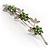 Rhodium Plated Emerald Green Diamante Flower Bouquet Brooch - view 7