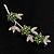 Rhodium Plated Emerald Green Diamante Flower Bouquet Brooch - view 8