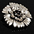 Vintage Dimensional Floral Brooch (Antique Silver Tone) - view 3