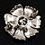 Vintage Dimensional Floral Brooch (Antique Silver Tone) - view 6