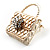 Stylish Crystal Bag Brooch (White Cream) - view 4