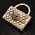 Stylish Crystal Bag Brooch (White Cream) - view 5