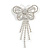 Striking Diamante Butterfly With Dangling Tail Brooch - view 2