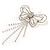 Striking Diamante Butterfly With Dangling Tail Brooch - view 8