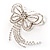 Striking Diamante Butterfly With Dangling Tail Brooch - view 6