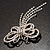 Striking Diamante Butterfly With Dangling Tail Brooch - view 5