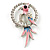 Crystal Parrot Bird Brooch (Silver&Pink) - 68mm L