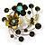 Fancy Butterfly And Flower Brooch (Olive Green)