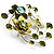 Fancy Butterfly And Flower Brooch (Olive Green) - view 3