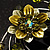 Fancy Butterfly And Flower Brooch (Olive Green) - view 6