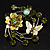 Fancy Butterfly And Flower Brooch (Olive Green) - view 7