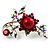 Faux Pearl Floral Brooch (Hot Red)