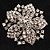 Victorian Corsage Flower Brooch (Silver & Clear Crystals) - view 2