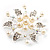 Bridal White Faux Pearl Floral Brooch - view 8