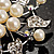 Bridal White Faux Pearl Floral Brooch - view 6