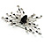 Art Deco Crystal Butterfly Brooch (Silver Tone) - view 5