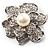 Bridal Faux Pearl Crystal Flower Brooch (Silver-Tone) - view 2