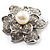 Bridal Faux Pearl Crystal Flower Brooch (Silver-Tone) - view 3
