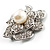 Bridal Faux Pearl Crystal Flower Brooch (Silver-Tone) - view 5