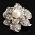 Bridal Faux Pearl Crystal Flower Brooch (Silver-Tone) - view 7