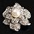 Bridal Faux Pearl Crystal Flower Brooch (Silver-Tone) - view 7