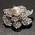 Bridal Faux Pearl Crystal Flower Brooch (Silver-Tone) - view 4