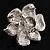 Bridal Faux Pearl Crystal Flower Brooch (Silver-Tone) - view 6