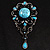 Oversized Vintage Turquoise Stone Charm Floral Brooch - view 7