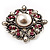 Wedding Corsage Faux Pearl Crystal Brooch (Antique Silver) - view 5