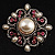 Wedding Corsage Faux Pearl Crystal Brooch (Antique Silver) - view 2