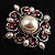 Wedding Corsage Faux Pearl Crystal Brooch (Antique Silver) - view 7