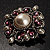 Wedding Corsage Faux Pearl Crystal Brooch (Antique Silver) - view 3