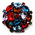Large Multicoloured Dimensional Corsage Acrylic Brooch (Bronze Tone) - view 7