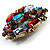Large Multicoloured Dimensional Corsage Acrylic Brooch (Bronze Tone) - view 2