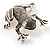 Marcasite Frog Brooch (Antique Silver Tone) - view 4