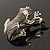 Marcasite Frog Brooch (Antique Silver Tone) - view 6